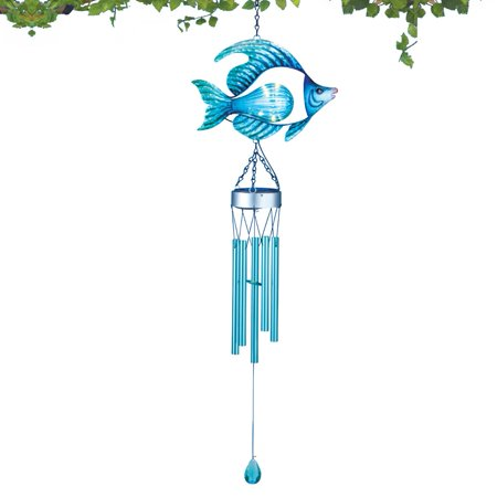 Solar glass fish wind chime for Fish wind chimes