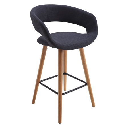 Vogue Furniture Direct Contemporary Fabric Seating Bar Stool With Wooden Legs Dark Grey