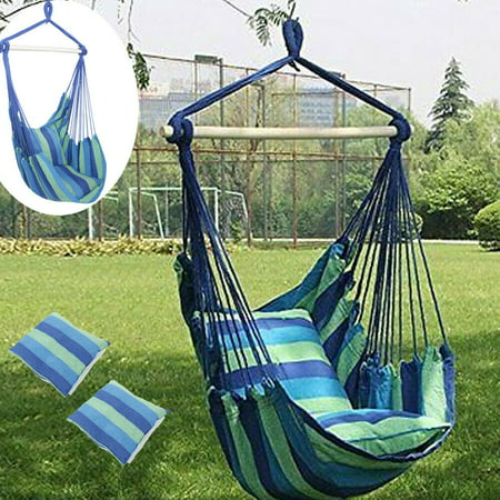 Portable Hammock Hanging Rope Chair Porch Patio Yard Seat Camping Stripes Air Deluxe Sky Swing Outdoor with Pillows Blue