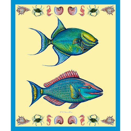 Betsy Drake Interiors Parrot and Trigger Fish Throw