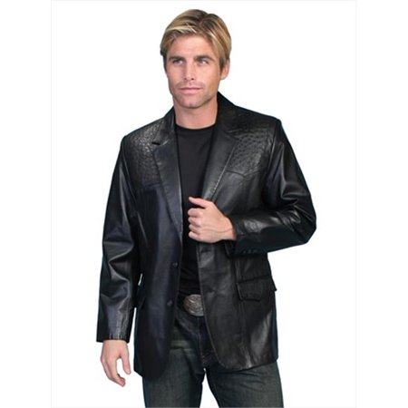 Scully Western Blazer Mens Leather Button Ostrich Pockets Onyx 650-175