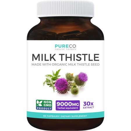 Organic Milk Thistle Extract (Vegan) - Super-Concentrated 4:1 Extract for 1,200mg of Milk Thistle Herb Power - Silymarin Marianum - Supports Liver Health, Cleanse & Detox - 60