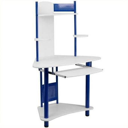 - Scranton & Co Corner Computer Desk with Hutch in Blue
