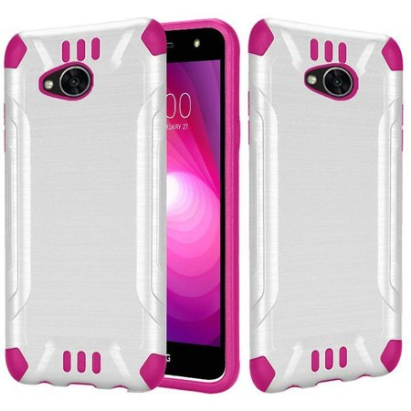 Insten Slim Armor Dual Layer Hybrid Brushed Hard Plastic/TPU Rubber Case Cover for LG Fiesta LTE/K10 Power/X Charge/X Power 2, White/Hot Pink