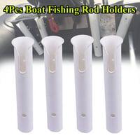 "4Pcs 12"" Boat Fishing Rod Holders Boat Marine Tube Rod Holder Plastic White 300mm*48mm*52mm ABS"