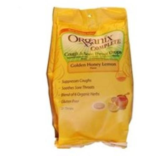 Organix Complete Cough & Sore Throat Drops Golden Honey Lemon 21 Each (Pack of 3)