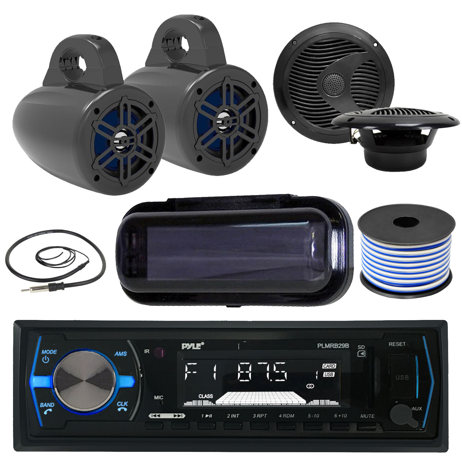 "Pyle Bluetooth MP3 USB AUX SD In-Dash Single DIN AM/FM Headunit Marine Receiver, 4""  Wakeboard Tower Speakers (Black) - Pair, 6.5"" 2-Way Speakers (Black), Radio Shield,  AM/FM Antenna, Speaker Wire"