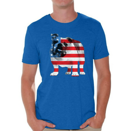 Awkward Styles American Flag Shirts Bulldog American Patriotic T-shirt Tops for Men USA Flag Tshirt 4th Of July Gifts for Dog Owners Bulldog Lover Shirt Red White and Blue Patriotic Outfit
