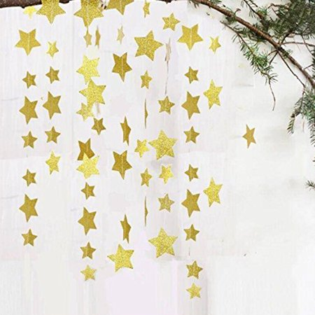 4M Sewn Five-Pointed Star Paper String Pull Flower Flag Hanging Ornaments Christmas New Year Birthday Party Decoration - image 5 de 8