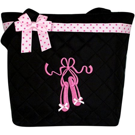 Fashion Polka Dot Tote - 1PerfectChoice Girl's Quilted Dance Ballet Slippers Tote Bag w/ Pink Polka Dot Bow (Black)