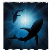Shark Shower Curtain, Silhouette of the Fishes Swimming at Twilight Night Moon Mystic Magical Sea Scenery, Fabric Bathroom Set with Hooks, Dark Blue, by Ambesonne