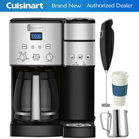 Cuisinart 12-Cup Coffee Maker and Single-Serve Brewer Stainless Steel (SS-15) with Milk Frother - Handheld Electric Foam Maker For Coffee, Milk Frothing Pitcher & Reusable To Go Mug Blue ()