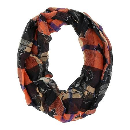 Size one size Women's Plaid Halloween Holiday Infinity Loop Scarf, Orange