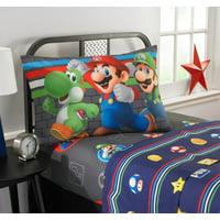 Super Mario Microfiber Sheet Set, Kids Bedding, Trifecta Fun, 3-Piece TWIN