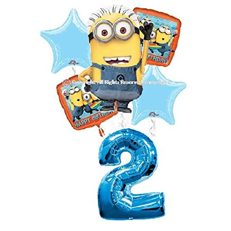 DESPICABLE ME MINIONS 2ND BIRTHDAY BALLOONS BIRTHDAY PARTY BALLOONS BOUQUET DECORATIONS SUPPLIES NUMBER 2 BALLOON
