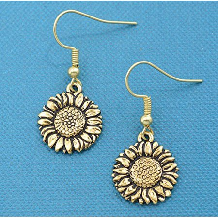 Sunflower Earrings In Gold Toned Metal Gifts Jewelry Charm