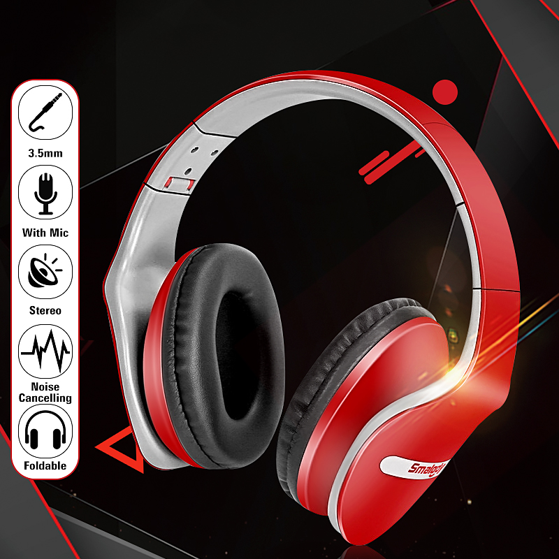 Fashion 3.5mm Stereo Over-ear Noise Cancelling Headphone Headset With Mic