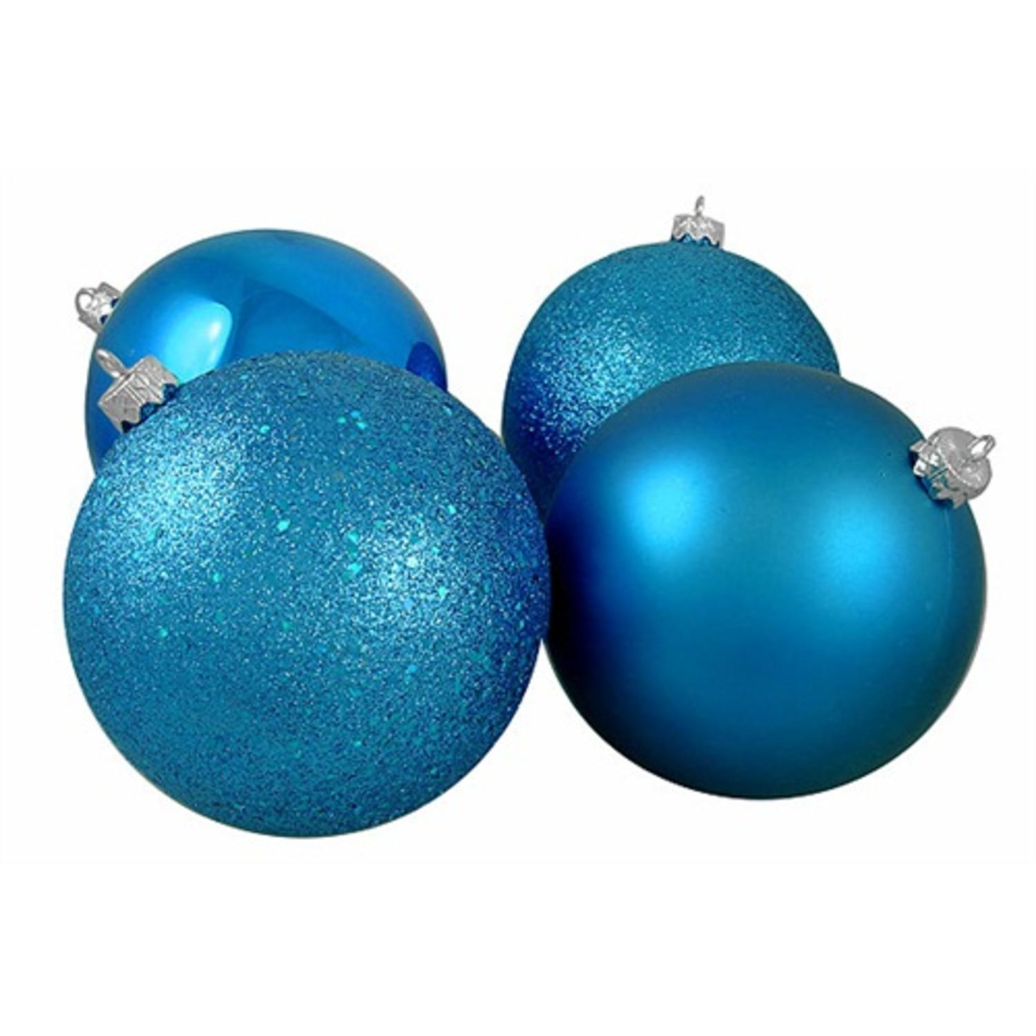 """4ct Turquoise Blue 4-Finish Shatterproof Christmas Ball Ornaments 10"""" (250mm)"""