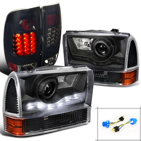 Spec-D Tuning For 1999-2004 Ford F250 Smd Projector Headlights + Corner Lights Lamps + Glossy Black Led Tail Lights (Left+Right) 1999 2000 2001 2002 2003 2004