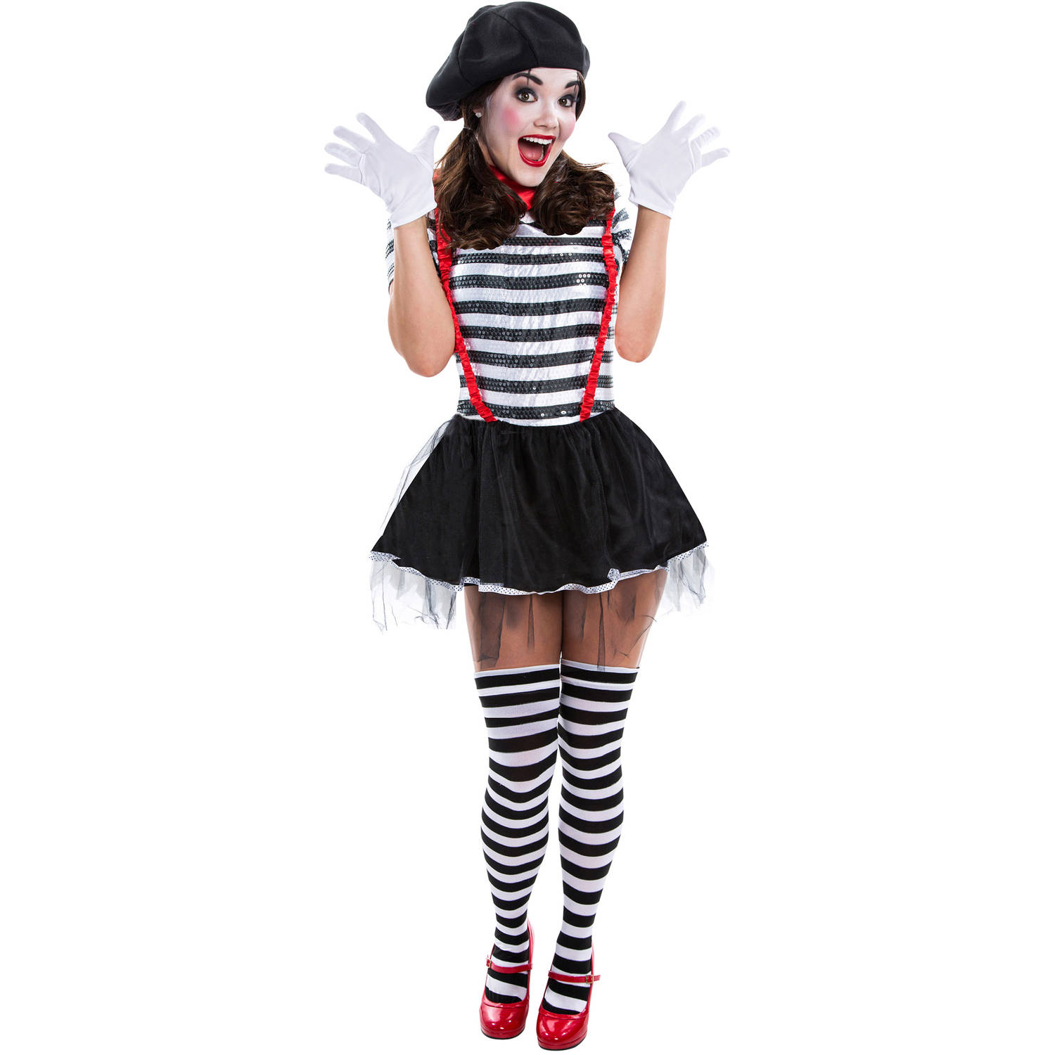 mime womens adult halloween dress up role play costume walmartcom - Mime For Halloween