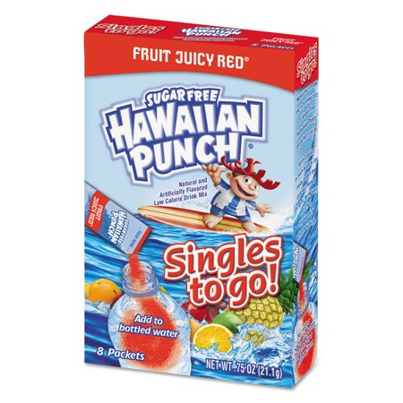 (12 Pack) Hawaiian Punch Singles To-Go Drink Mix, Fruity Juicy Red, 1.86 Oz, 96 Packets - Green Hawaiian Punch