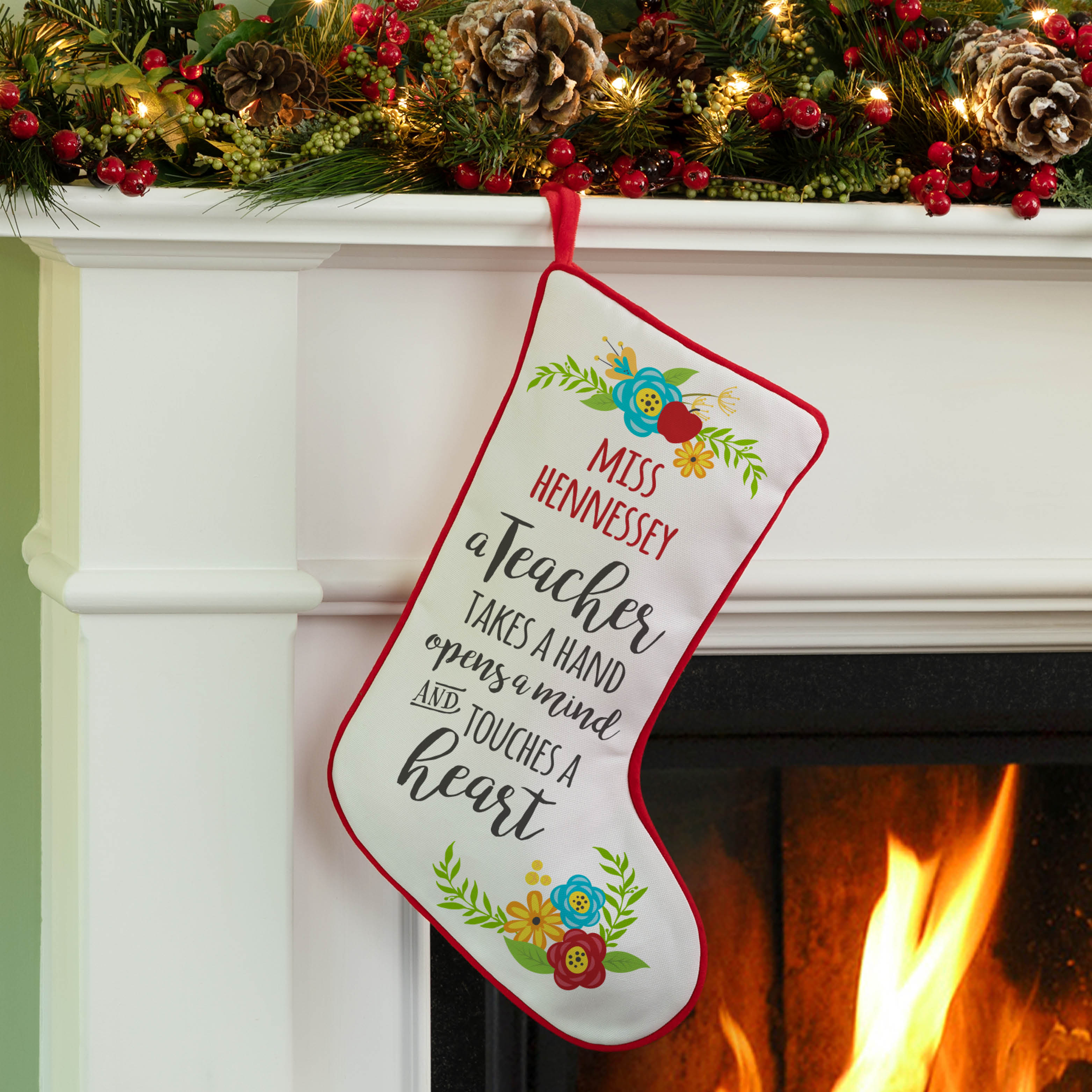 A Teacher Takes A Hand Personalized Stocking
