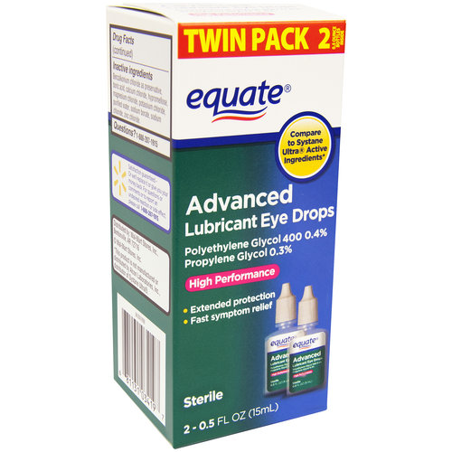 Equate Advanced Lubricant Eye Drops, 0.5 fl oz, (Pack of 2)