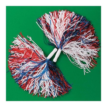 Pom Poms Cheerleading (2 Red White & Blue Patriotic Cheerleader Pom Poms Cheerleading Party Favors, 1 Pair Red, White & Blue Cheerleader Pom-Poms By)