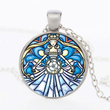 AkoaDa Excellent 1Pc Sailor Moon Logo Pendant Time Gemstone Necklace Women Jewelry Love Gift (Precious Gems Jewelry)