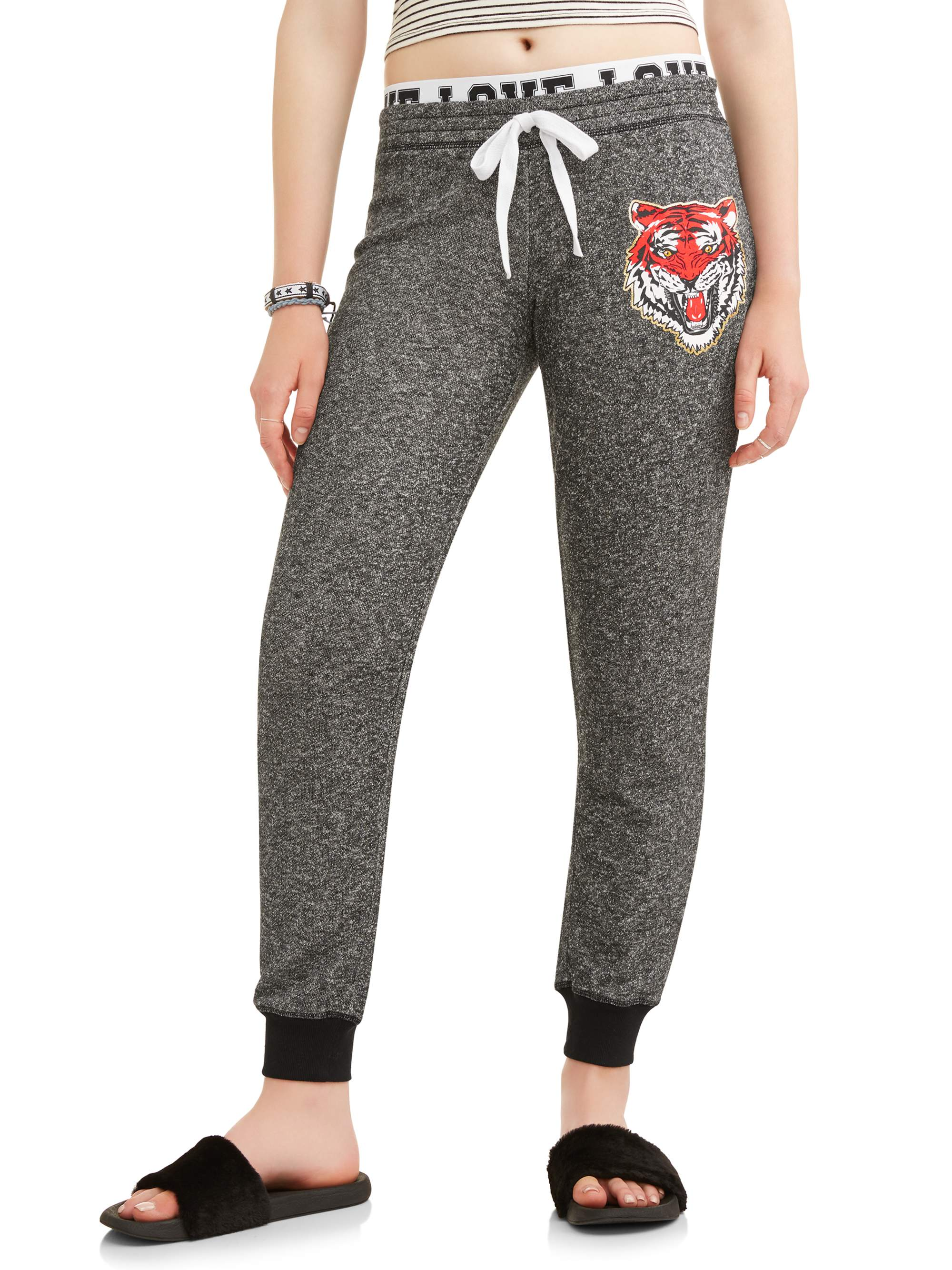 Juniors' Elastic Double Waist Graphic Joggers