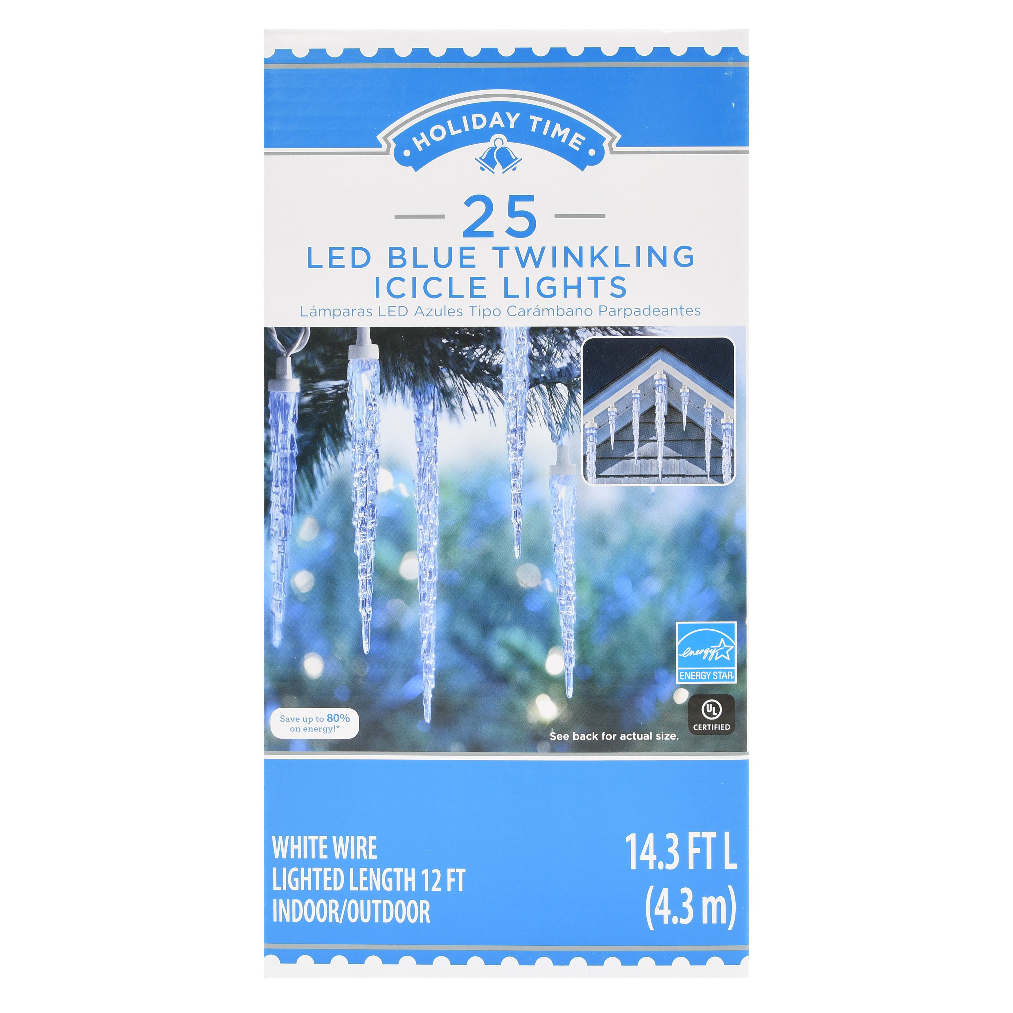 Holiday Time Led Blue Twinkling Icicle Lights 14 3 25