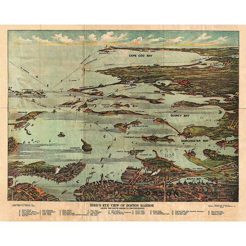 Penny Lane 1899 View Map of Boston Harbor Graphic Art on Wrapped Canvas