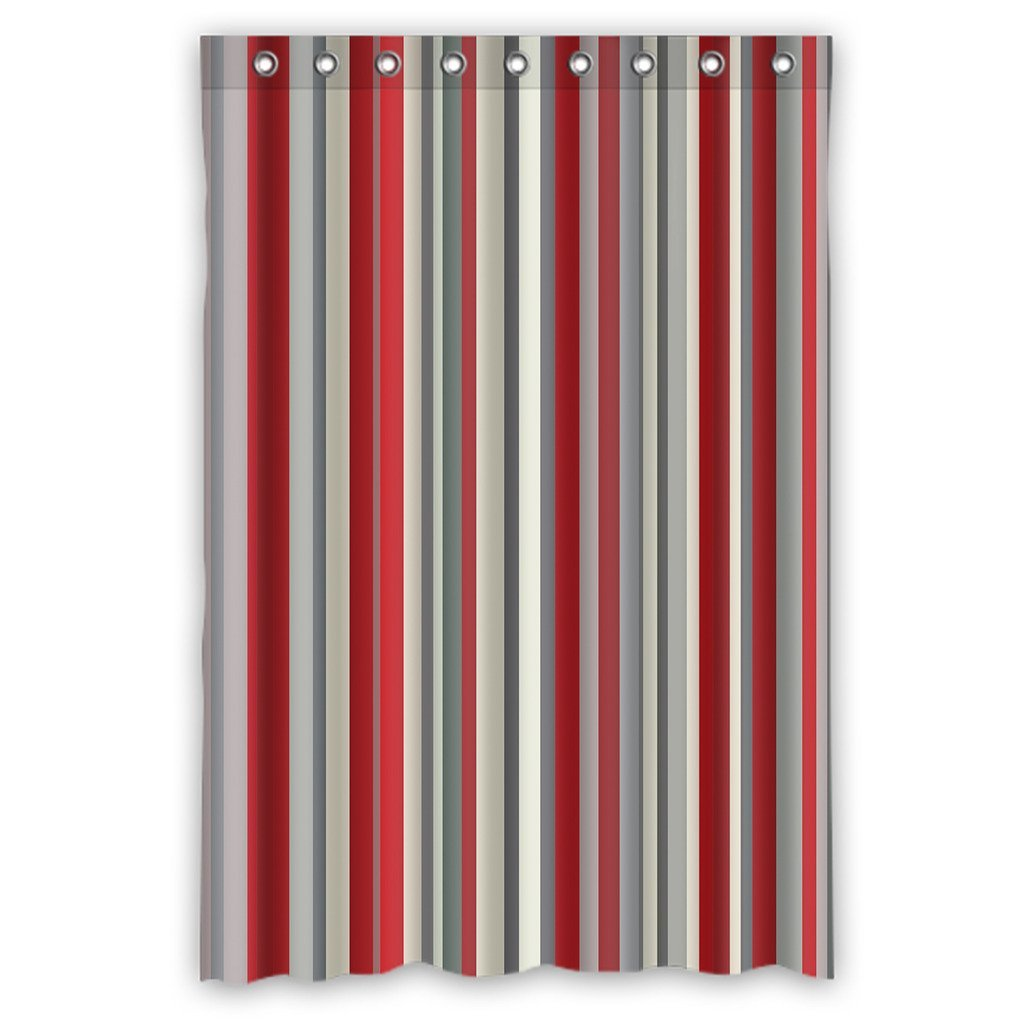 Gckg Red Gray Vertical Stripes Waterproof Polyester Shower