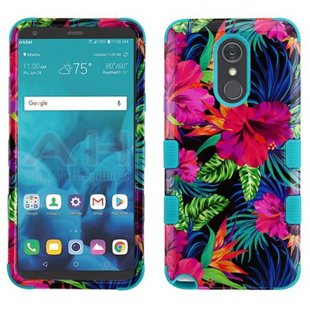 LG Stylo 4 Phone Case Tuff Hybrid Shockproof Impact Rubber Dual Layer Hard Soft Protective Hard Case Cover Electric Hibiscus Phone Case for LG Stylo 4 (Lg G2 Rubber Phone Case Verizon)