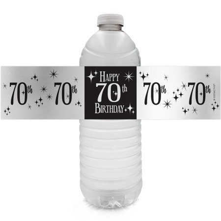 Silver Foil 70th Birthday Bottle Labels - 24ct - Black and Silver Birthday Party Supplies - 24 Count Water Bottle Stickers - Ideas For A 70th Birthday