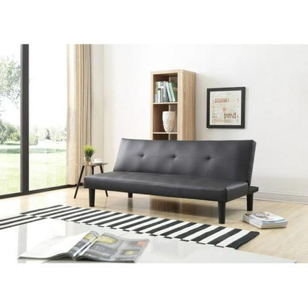 Hodedah Imports Black Faux Leather Click Clack Sofa Bed