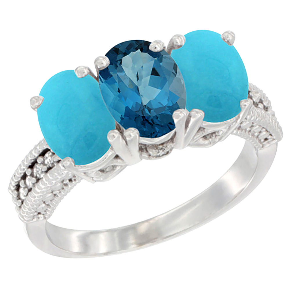 14K White Gold Natural London Blue Topaz & Turquoise Sides Ring 3-Stone 7x5 mm Oval Diamond Accent, sizes 5 10 by WorldJewels