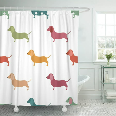 PKNMT Dachshund Cute Dachshound Dogs Small Puppies Sausage Pattern Doxie Polyester Shower Curtain 60x72 inches