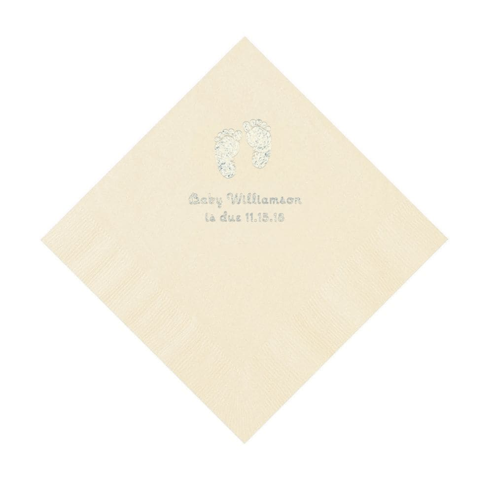 Ivory Baby Feet Personalized Napkins with Silver Foil - Luncheon