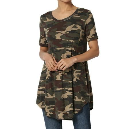 TheMogan Women's Army Camouflage Print Camo Rounded Hem Boat Neck Short Sleeve