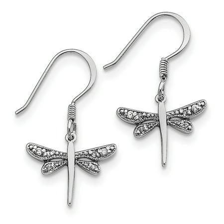 Sterling Silver CZ Dragonfly Earrings QE3271 - image 2 de 2