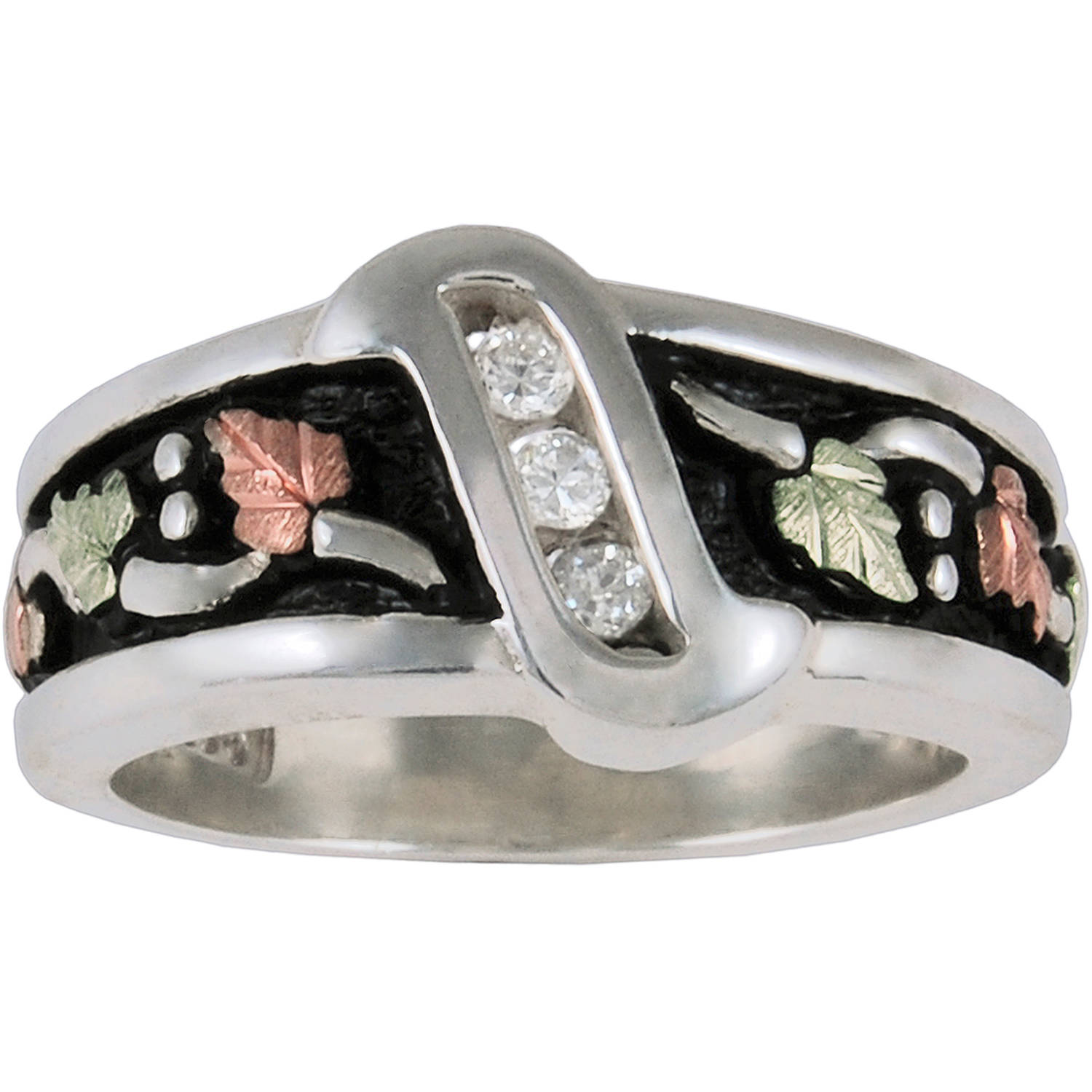 Black Hills Gold CZ Antiqued Ring in Sterling Silver