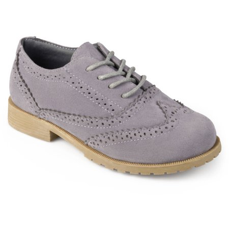 Four Crown Oxford - Boy's Faux Suede Wingtip Lace-up Dress Oxfords