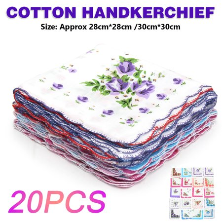 Vintage Ladies Women 20Pcs Cotton Handkerchief Pocket Floral Flowers Quadrate Hanky Hankies Christmas (Christmas Handkerchief)