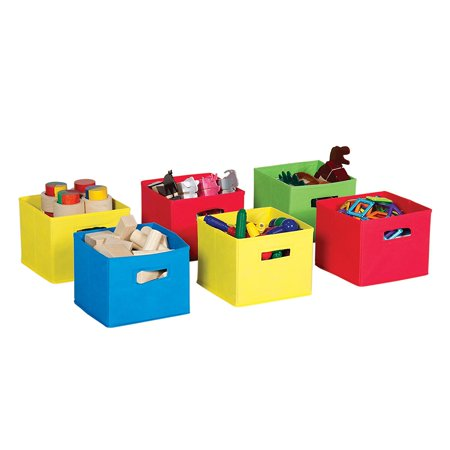 Guidecraft Toy Box (Fabric Bins (Set of 6), Multicolor - Kids Toy Storage, canvas By)
