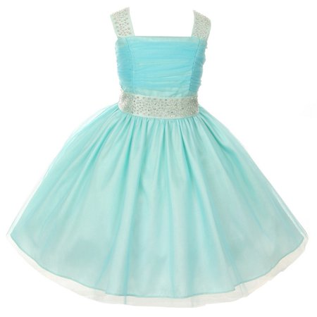 Cinderella Couture Girls Aqua Blue Rhinestone Ruched Sleeveless Dress 8-14 (Cinderella Girls Dresses)
