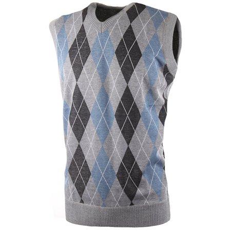 Mens Argyle/Plain V-Neck Golf Sweater Vest (Many Colors Available) Argyle Grey | Blue Size S