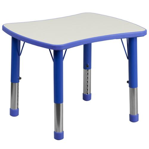 14.5-23.5-Inch Height-adjustable Plastic Preschool Activity Table Blue, Grey