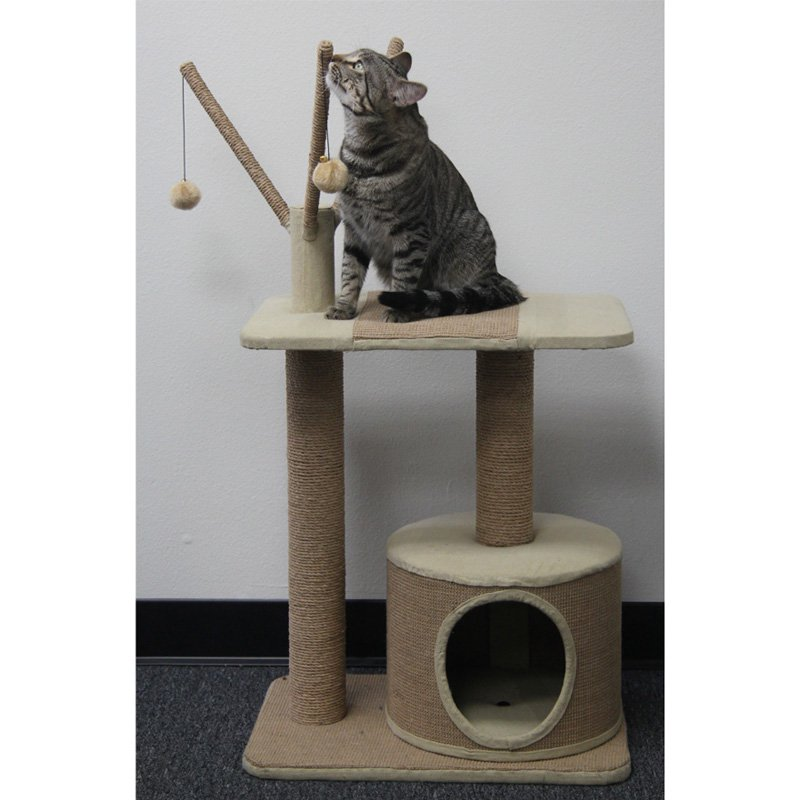 PetPals Group 22 x 15 x 29 in. Jute Cat Playhouse with Condo & Teasers