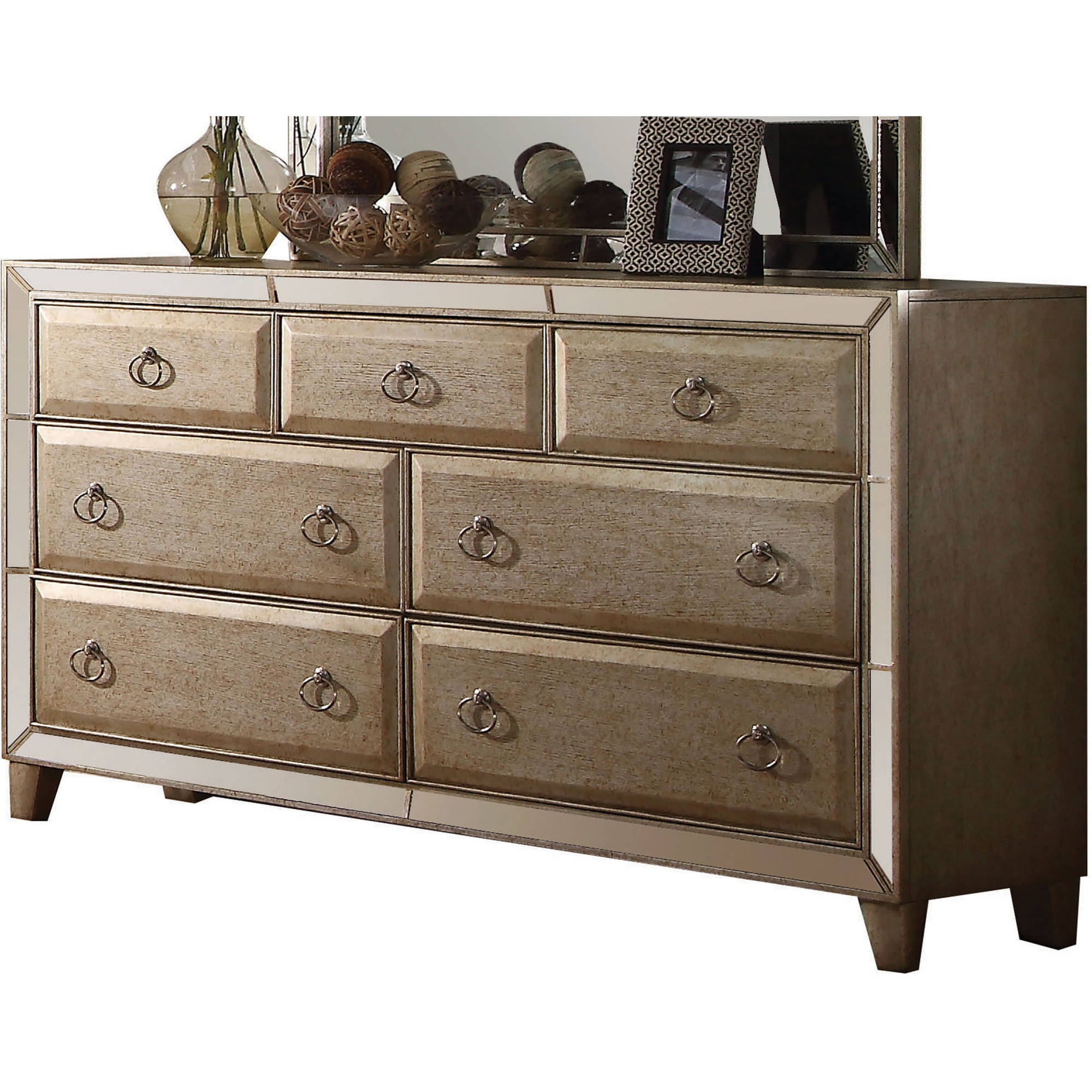 Acme Furniture Voeville Antique Gold Dresser with Seven Drawers